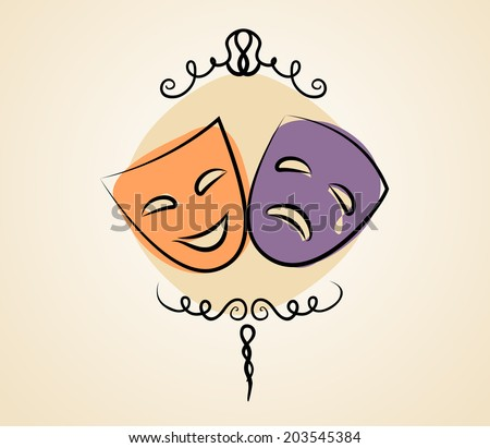 Comedy and tragedy theater masks. Vector illustration in vintage colors - stock vector