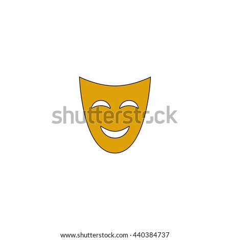 comedy mask Flat yellow thin line symbol on white background. Vector icon