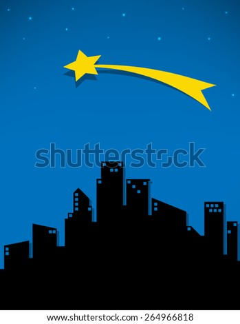 comet and stars fo the city, vector illustration - stock vector