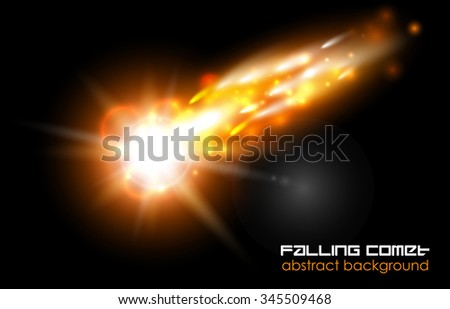Comet, fireball or meteor glow abstract background. Bright falling flash on black - stock vector