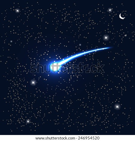 Comet Fly Around the Planet in Space. Vector Illustration. EPS10 - stock vector