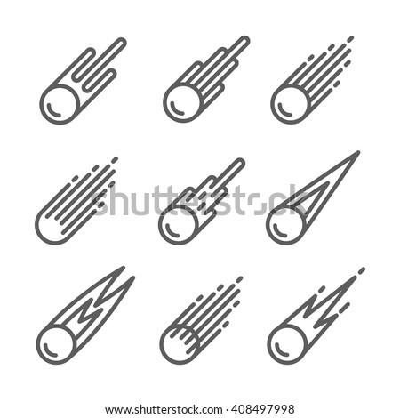 Comet Icon set - stock vector