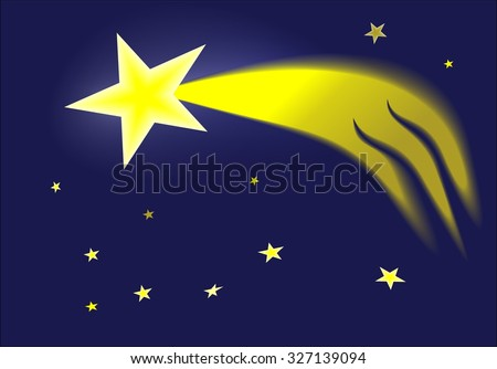 Comet in the sky is a symbol of the Christmas season - stock vector