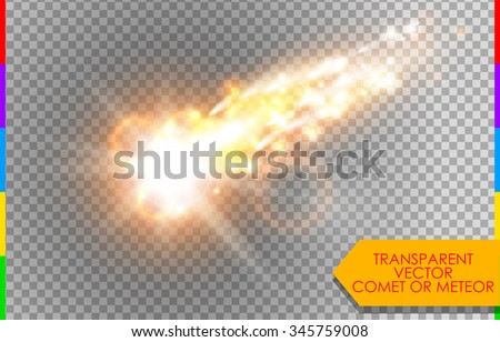 Comet, meteor or fire on transparent background. Vector glow special light effect with sparks. Rocket in sky - stock vector