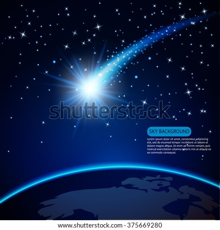 Comet on Earth Planet in cosmos sky background. Vector illustration. - stock vector