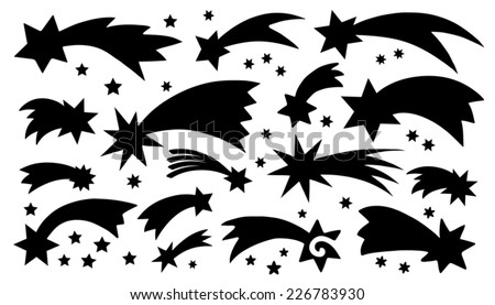 comet silhouettes on the white background - stock vector