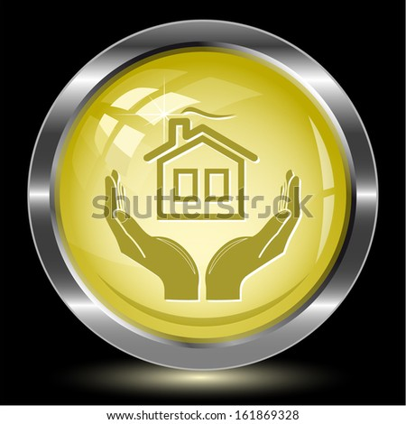 comfort in hands. Internet button. Vector illustration. - stock vector