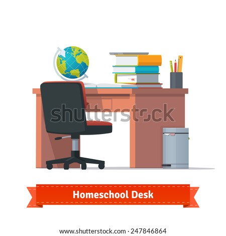 Comfortable homeschooling workplace with the desk, wheelchair and a trashcan. Lots of books, tablet and terrestrial globe on the table. Flat style illustration or icon. EPS 10 vector. - stock vector
