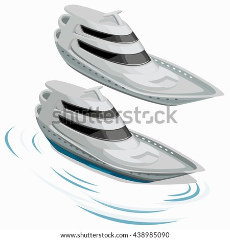 Comfortable modern yacht isolated on white background. Vector illustration. - stock vector