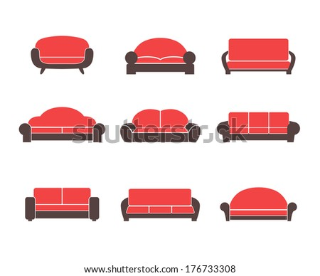Comfortable sofas and couches furniture flat icons set for living room isolated vector illustration - stock vector