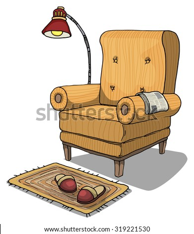 Comfy armchair with lamp and slippers next to it, vector illustration isolated on white - stock vector