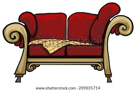 Comfy vintage red sofa, couch, vector illustration - stock vector