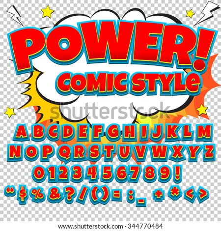 Comic alphabet set. Blue and white color version. Letters, numbers and figures for kids' illustrations, websites, comics, banners. - stock vector