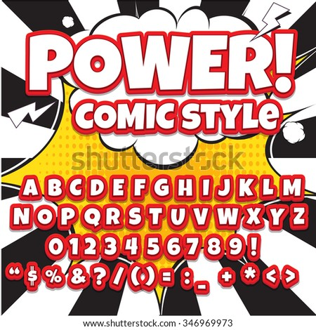 Comic alphabet set. Light color version. Letters, numbers and figures for kids' illustrations, websites, comics, banners.