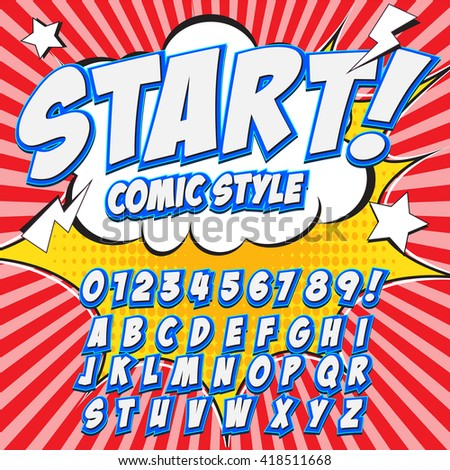 Comic alphabet set. Light color version. Letters, numbers and figures for kids' illustrations, websites, comics, banners. - stock vector