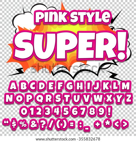 Comic alphabet set. Pink Light color version. Letters, numbers and figures for kids' illustrations, websites, comics, banners. - stock vector