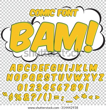 Comic alphabet set. Yellow color version. Letters, numbers and figures for kids' illustrations, websites, comics, banners. - stock vector