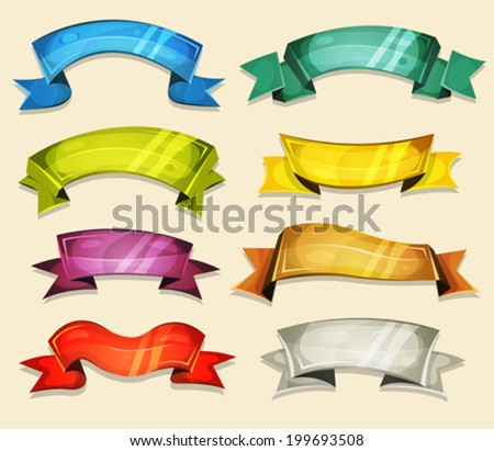 Comic Banners And Ribbons Set For Ui Game/ Illustration of a set of various cartoon fresh colorful circus banners, ribbons, swirls, awards and scrolls to use as design elements inside ui game - stock vector