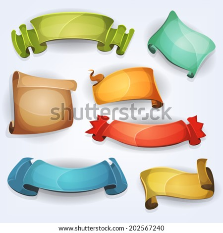 Comic Banners/ Illustration of a set of various cartoon funny fresh colorful circus banners, ribbons, swirls, awards and parchment scrolls designed for advertisement or ui game - stock vector