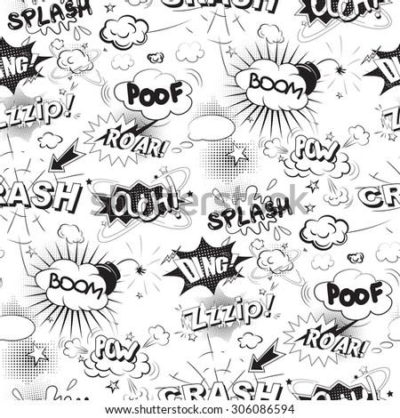 Comic black speech bubbles in pop art style seamless pattern - stock vector