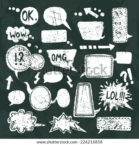 Comic blank text speech bubbles chalkboard decorative icons set vector illustration - stock vector