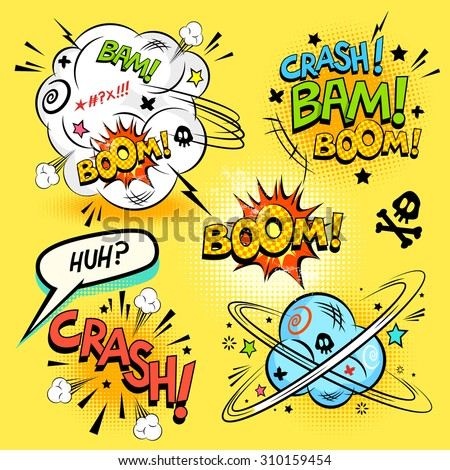 Comic Book Actions - A collection of comic cartoon actions and design elements. Vector illustration - stock vector