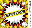 Comic book background Attention! sign Card Pop Art office stamp with the word Attention - stock vector
