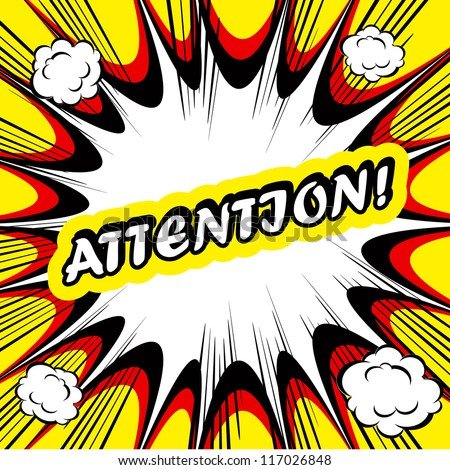 Comic book background Attention! sign Card Pop Art office stamp with the word Attention