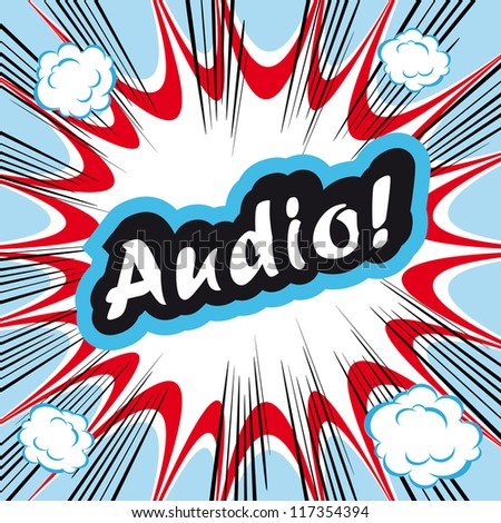 Comic book background Audio! concept or conceptual cute Audio text on pop art background for your designs or presentations - stock vector