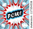 Comic book background POW! concept or conceptual cute POW text on pop art background for your designs or presentations - stock photo
