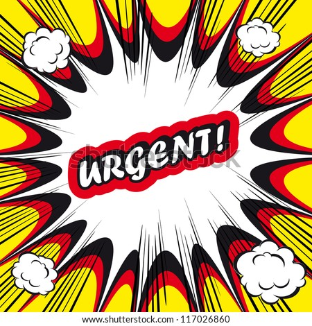 Comic book background Urgent! sign Card Pop Art office stamp with the word urgent
