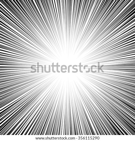 Comic book black and white radial lines background Manga graphic speed frame Superhero action Explosion vector illustration Square fight stamp Sun ray Star burst Ink texture - stock vector
