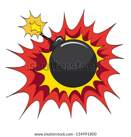 Comic book bomb explosion, vector illustration - stock vector
