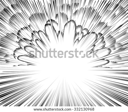 Comic book explosion. Black and white background - stock vector
