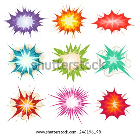 Comic Book Explosion, Bombs And Blast Set/ Illustration of a set of comic book explosion, blast and other cartoon fire bomb, bang and exploding symbols, in various colors - stock vector