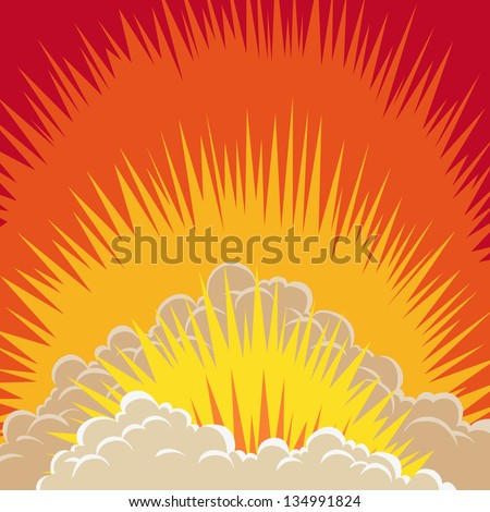 Comic book explosion boom, vector illustration - stock vector