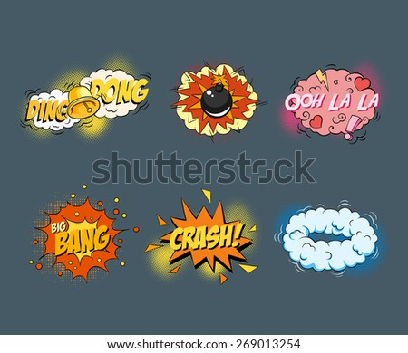 Comic book explosion elements. Pop Art style. Vector illustration - stock vector