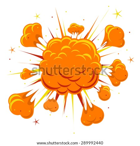 Comic book explosion. Explosion boom, orange cloud, smoke and explode Vector illustration - stock vector