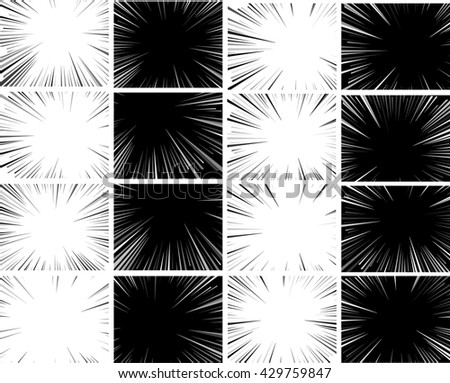 Comic book explosion set superhero pop art style black and white radial lines background. Manga or anime speed frame.