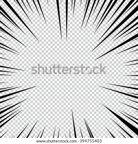 Comic book explosion superhero pop art style black and white radial lines background. Manga or anime speed frame.