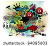 Comic book explosions - stock vector