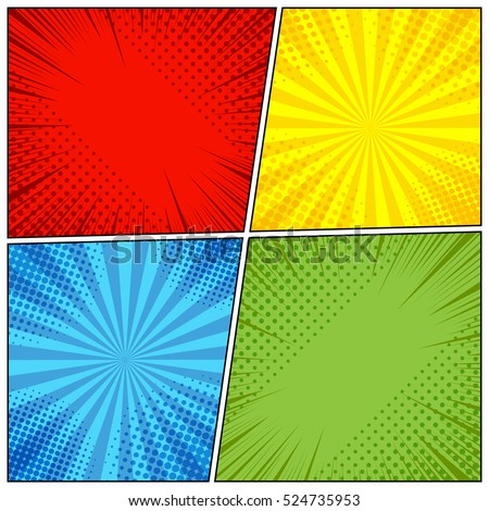 Comic Book Page Background Radial Halftone Stock Vector 524735953 ...