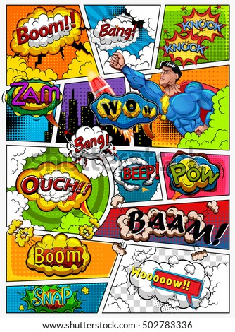 comic strip bubble template - comic book page divided by lines stock vector 502783336