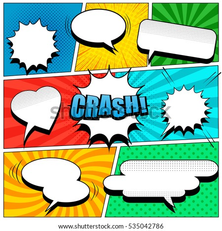 Comic Book Page Template Popart Style Stock Vector 535042786
