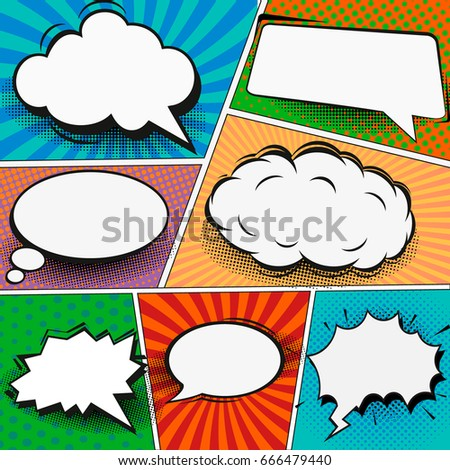 Comic Book Page Template Popart Style Stock Vector