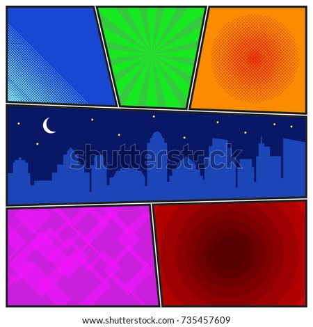 Comic Book Page Template With Radial Backgrounds And Night City Silhouette Colorful Vector In