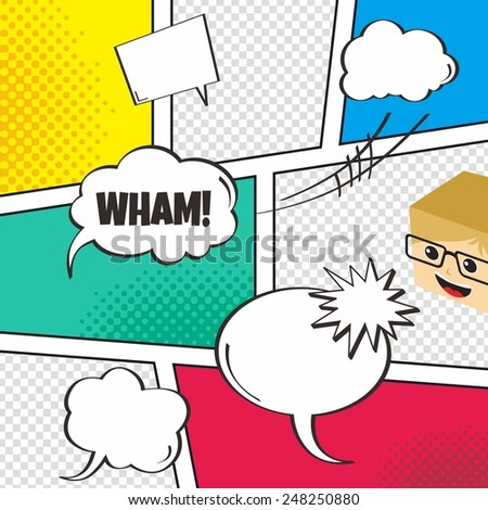 comic book page with speech bubbles - cartoon theme - stock vector