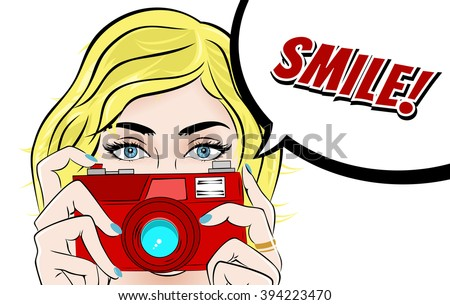 Comic Book Pop Art illustration with Girl. Movie Star with Foto Camera. Photographer or Videographer Vintage Advertising Poster. Fashion Woman with Photo Camera. Smile! - stock vector