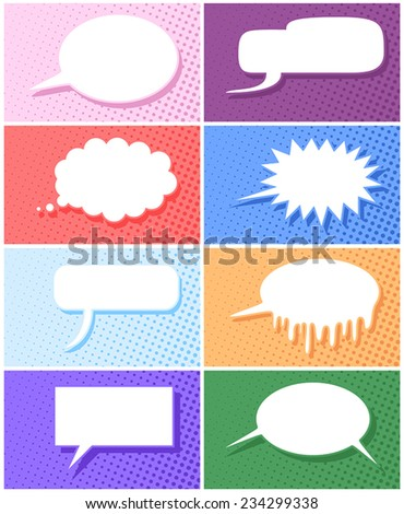 Comic book speech balloon with variations vector illustration - stock vector