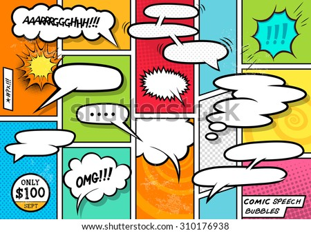 Comic Book Speech Bubbles. A set of colourful and retro comic book design elements with speech bubbles! Vector illustration. - stock vector